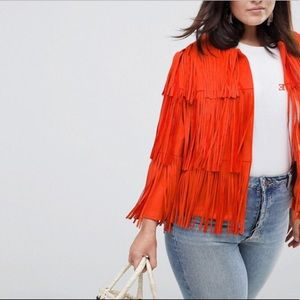 River island plus layered fringe orange jacket